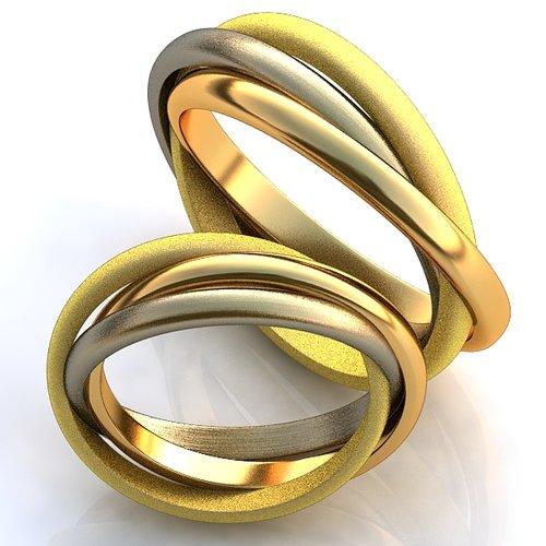 Тройные обручальные кольца Тринити YJ345, золото 585 пробы, 5.5 гр ... 624089f372e