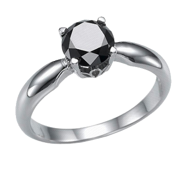 Кольцо для помолвки с черным бриллиантом DVI-47, белое золото 585 ... 92349f0eb99